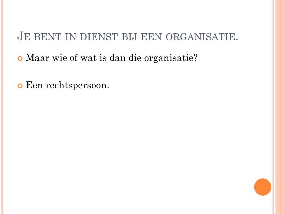 J E BENT IN DIENST BIJ EEN ORGANISATIE. Maar wie of wat is dan die organisatie? Een rechtspersoon.