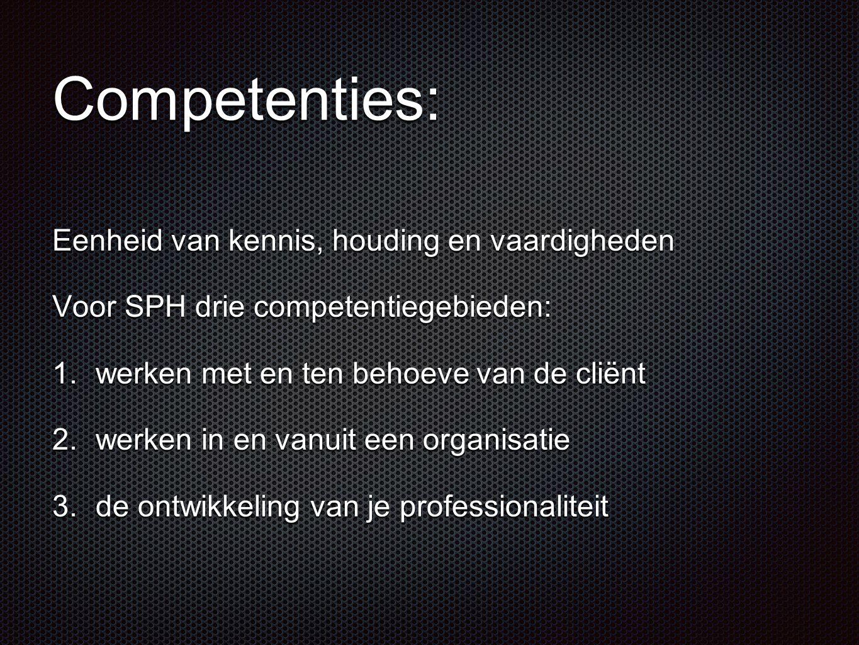 Competenties: Eenheid van kennis, houding en vaardigheden Voor SPH drie competentiegebieden: 1.werken met en ten behoeve van de cliënt 2.werken in en