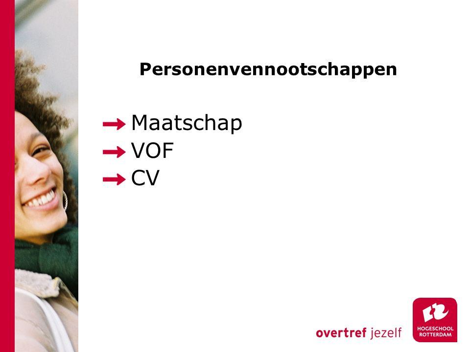 Personenvennootschappen Maatschap VOF CV