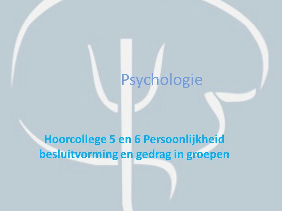 Theorieën over persoonlijkheid Psychodynamische theorie Humanistische theorie Cognitieve theorie Big five