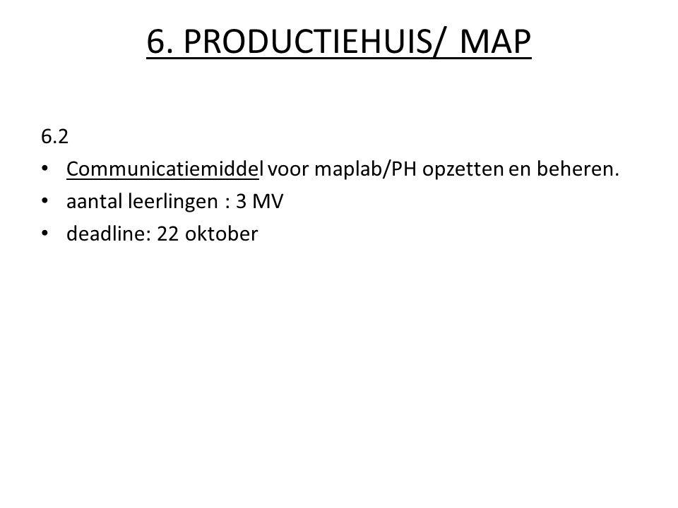 6.PRODUCTIEHUIS/ MAP 6.2 Communicatiemiddel voor maplab/PH opzetten en beheren.