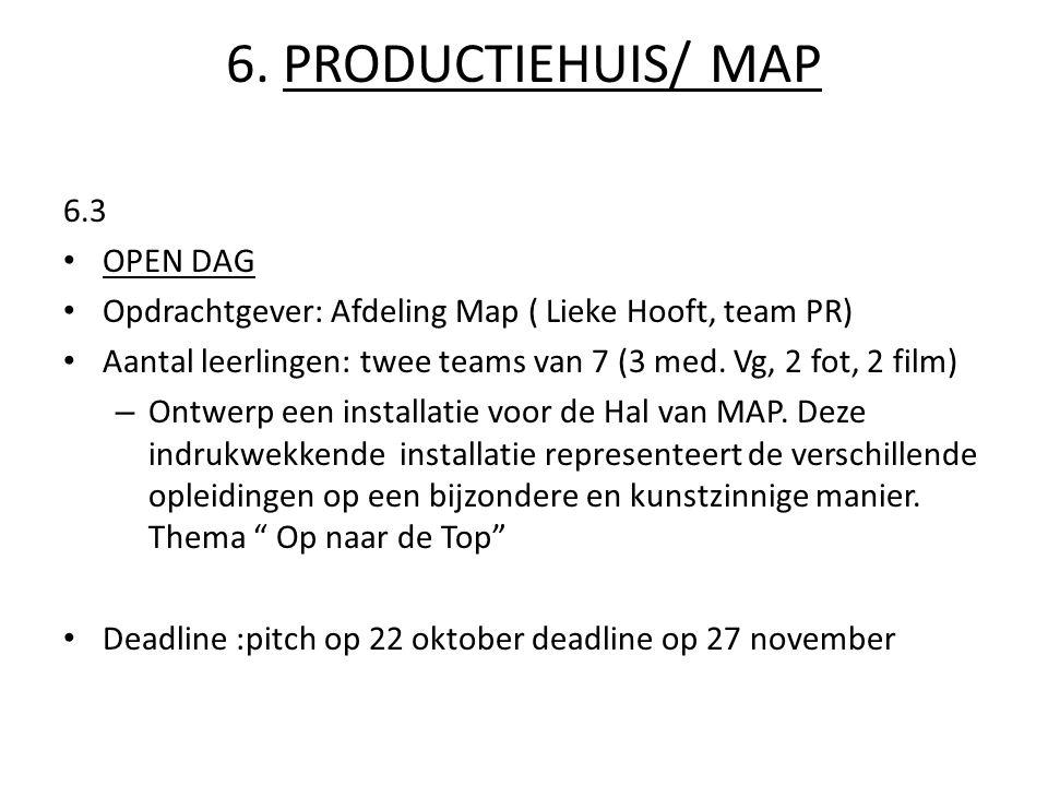6. PRODUCTIEHUIS/ MAP 6.3 OPEN DAG Opdrachtgever: Afdeling Map ( Lieke Hooft, team PR) Aantal leerlingen: twee teams van 7 (3 med. Vg, 2 fot, 2 film)
