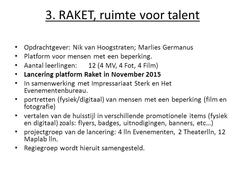 3. RAKET, ruimte voor talent Opdrachtgever: Nik van Hoogstraten; Marlies Germanus Platform voor mensen met een beperking. Aantal leerlingen: 12 (4 MV,