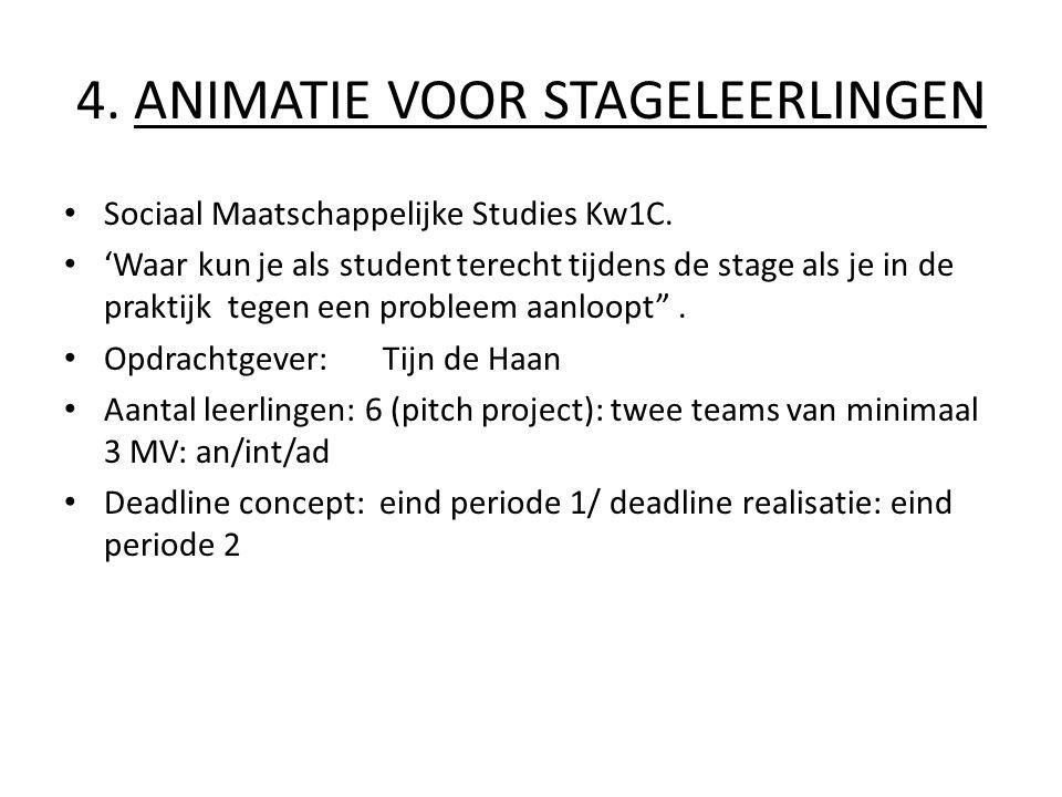4.ANIMATIE VOOR STAGELEERLINGEN Sociaal Maatschappelijke Studies Kw1C.