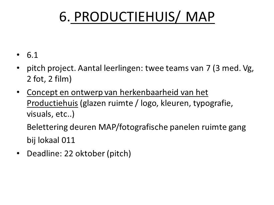 6.PRODUCTIEHUIS/ MAP 6.1 pitch project. Aantal leerlingen: twee teams van 7 (3 med.