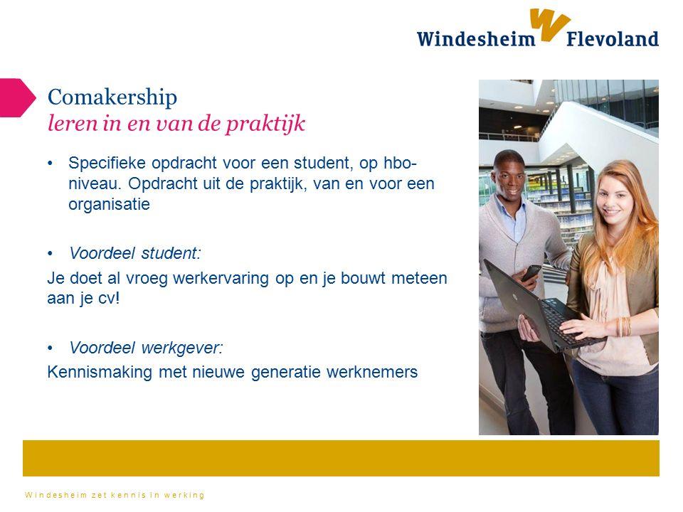 Windesheim zet kennis in werking Comakership leren in en van de praktijk Specifieke opdracht voor een student, op hbo- niveau.