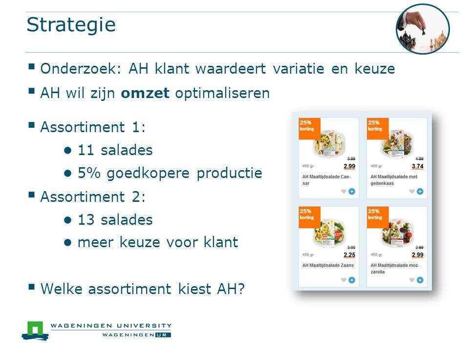 Strategie  Assortiment 1: ● 11 salades ● 5% goedkopere productie  Assortiment 2: ● 13 salades ● meer keuze voor klant  Welke assortiment kiest AH?
