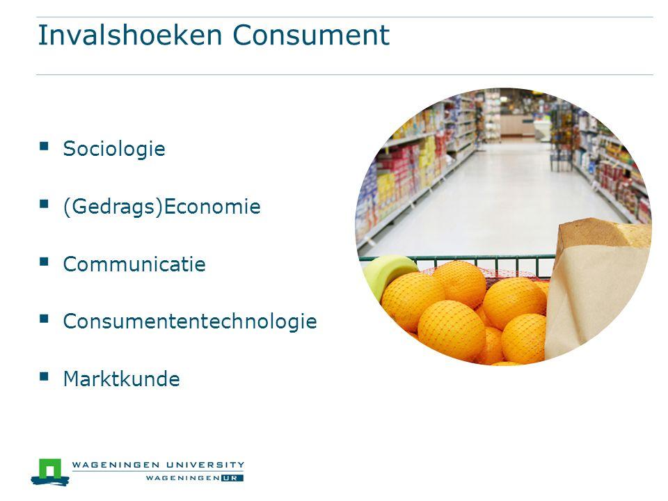 Invalshoeken Consument  Sociologie  (Gedrags)Economie  Communicatie  Consumententechnologie  Marktkunde
