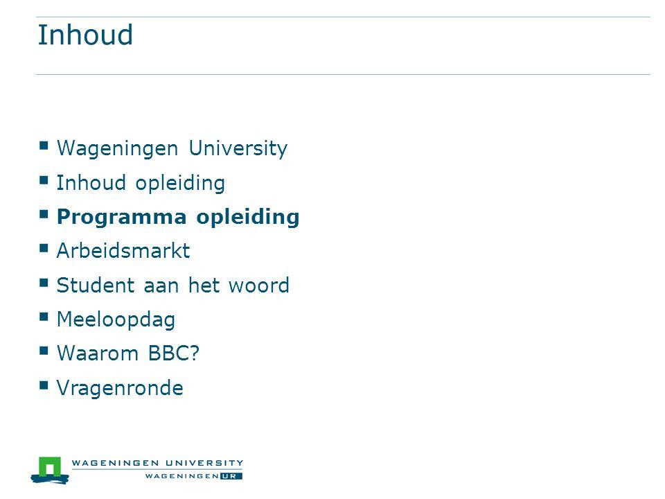 Inhoud  Wageningen University  Inhoud opleiding  Programma opleiding  Arbeidsmarkt  Student aan het woord  Meeloopdag  Waarom BBC?  Vragenrond
