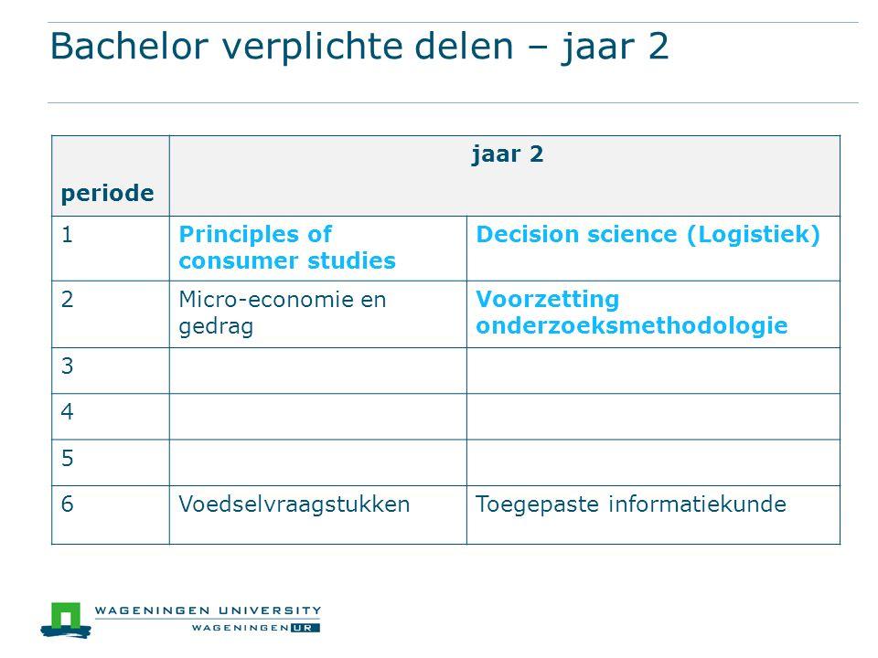 Bachelor verplichte delen – jaar 2 periode jaar 2 1Principles of consumer studies Decision science (Logistiek) 2Micro-economie en gedrag Voorzetting onderzoeksmethodologie 3 4 5 6VoedselvraagstukkenToegepaste informatiekunde