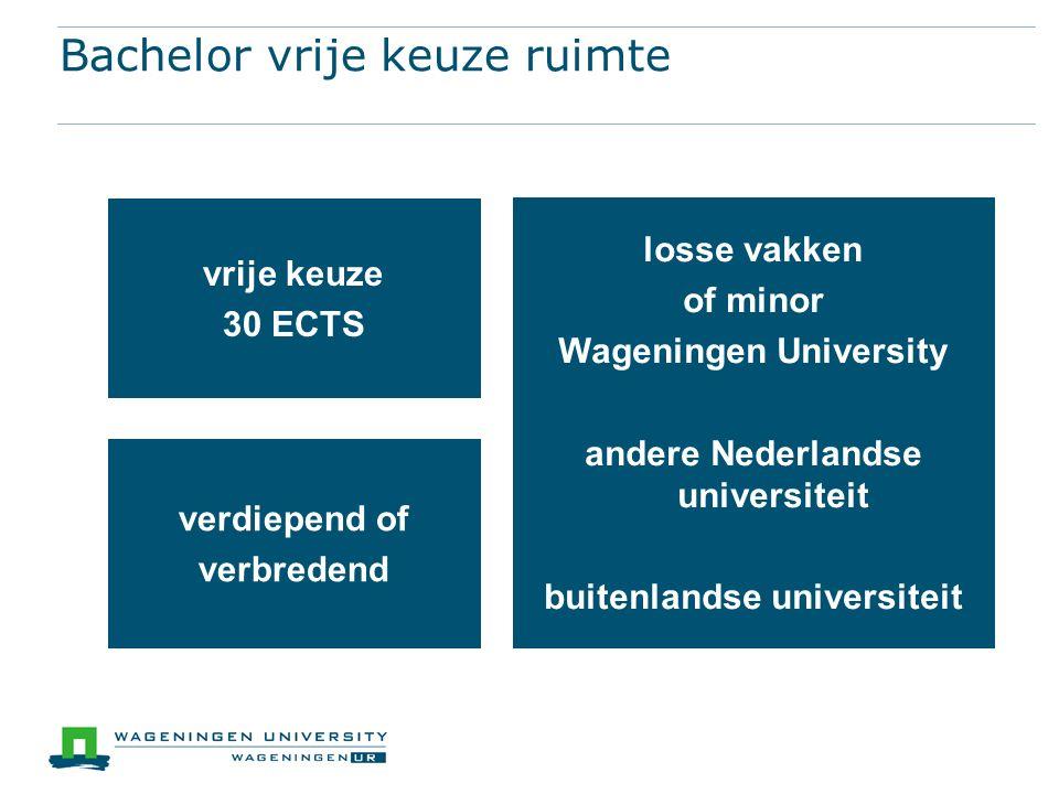 Bachelor vrije keuze ruimte vrije keuze 30 ECTS losse vakken of minor Wageningen University andere Nederlandse universiteit buitenlandse universiteit