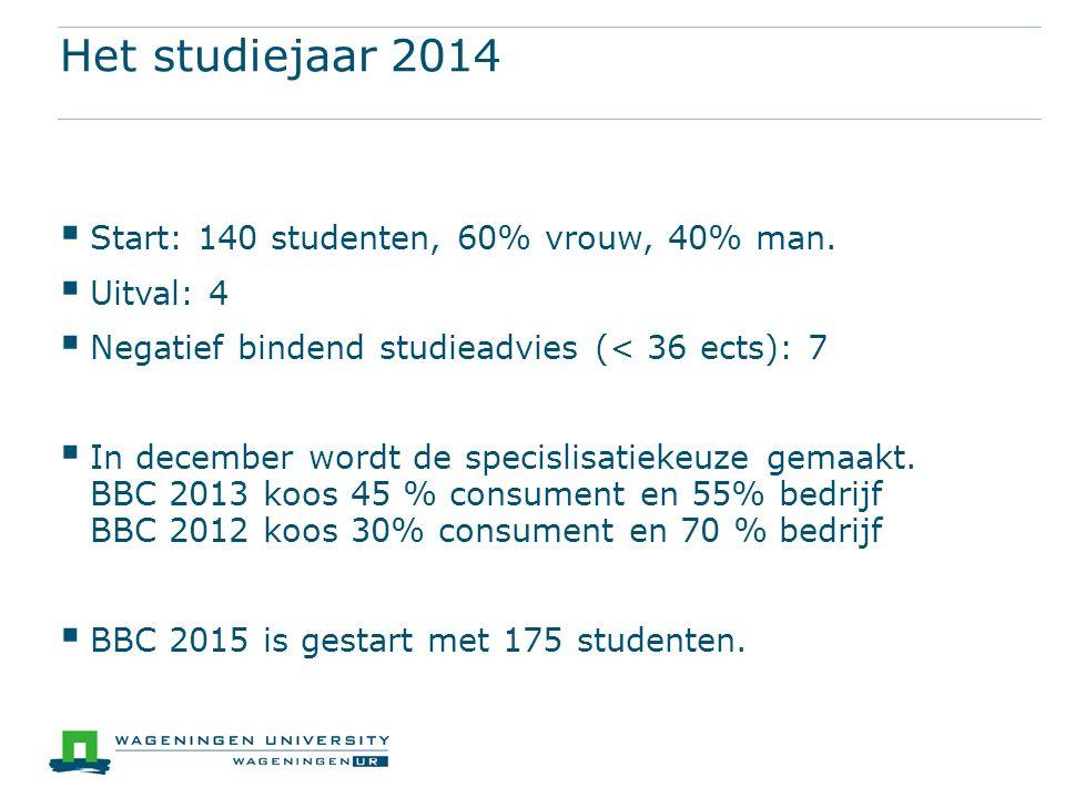 Het studiejaar 2014  Start: 140 studenten, 60% vrouw, 40% man.  Uitval: 4  Negatief bindend studieadvies (< 36 ects): 7  In december wordt de spec