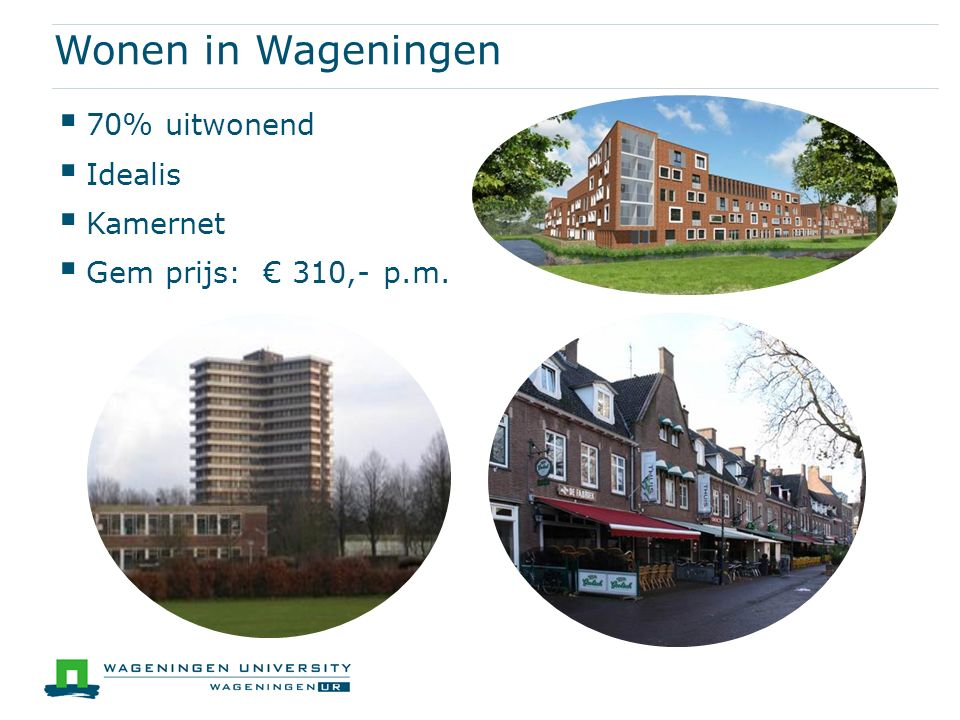 Wonen in Wageningen  70% uitwonend  Idealis  Kamernet  Gem prijs: € 310,- p.m.