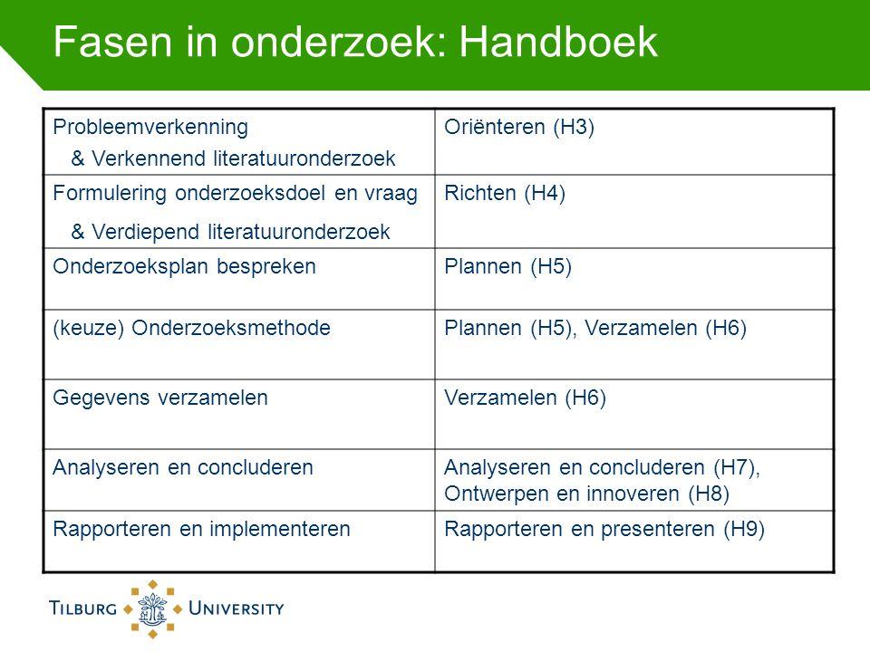Fasen in onderzoek: Handboek Probleemverkenning & Verkennend literatuuronderzoek Oriënteren (H3) Formulering onderzoeksdoel en vraag & Verdiepend lite