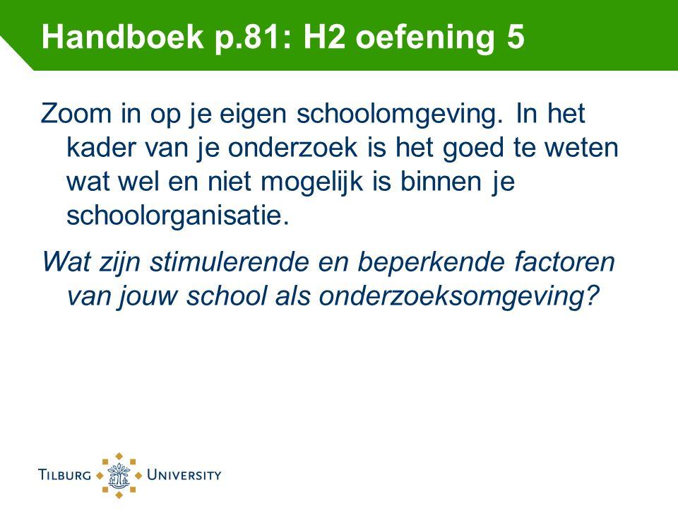 Handboek p.81: H2 oefening 5 Zoom in op je eigen schoolomgeving. In het kader van je onderzoek is het goed te weten wat wel en niet mogelijk is binnen