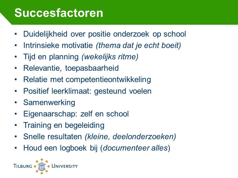 Succesfactoren Duidelijkheid over positie onderzoek op school Intrinsieke motivatie (thema dat je echt boeit) Tijd en planning (wekelijks ritme) Relev