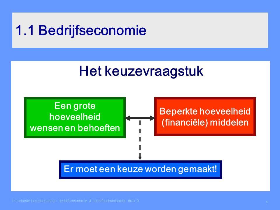 Introductie basisbegrippen bedrijfseconomie & bedrijfsadministratie druk 3 5 1.1 Bedrijfseconomie Het keuzevraagstuk Een grote hoeveelheid wensen en b