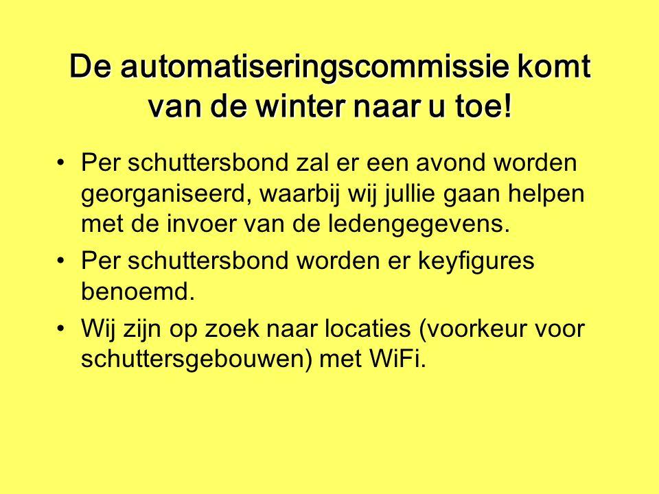 De automatiseringscommissie komt van de winter naar u toe! Per schuttersbond zal er een avond worden georganiseerd, waarbij wij jullie gaan helpen met