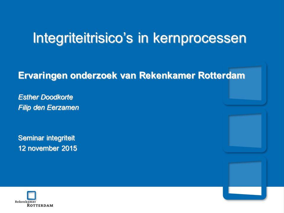 Integriteitrisico's in kernprocessen Ervaringen onderzoek van Rekenkamer Rotterdam Esther Doodkorte Filip den Eerzamen Seminar integriteit 12 november 2015