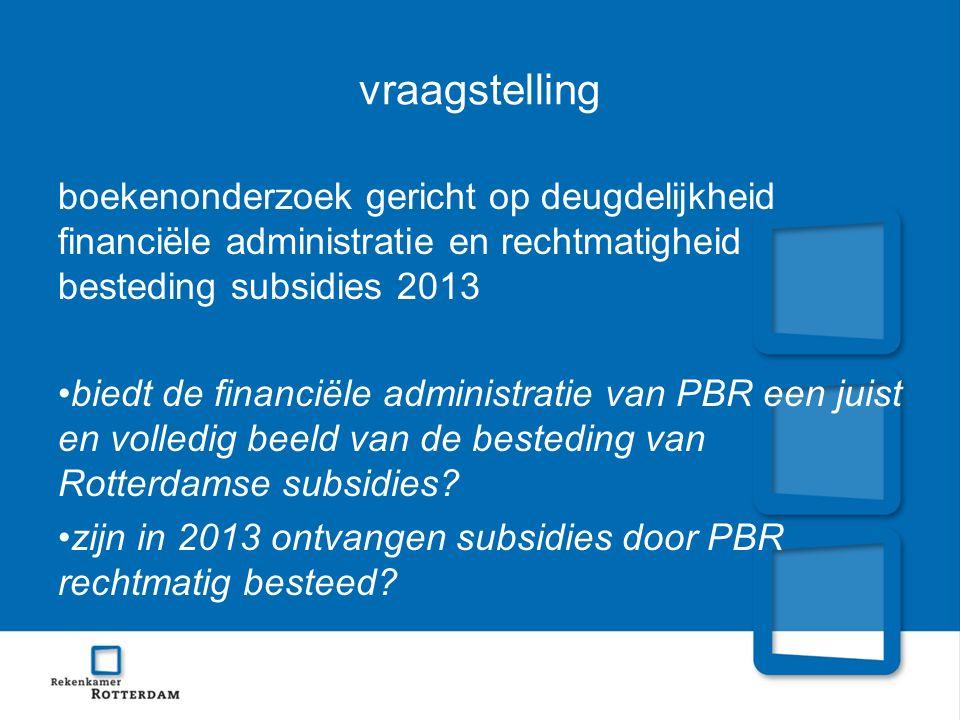 vraagstelling boekenonderzoek gericht op deugdelijkheid financiële administratie en rechtmatigheid besteding subsidies 2013 biedt de financiële administratie van PBR een juist en volledig beeld van de besteding van Rotterdamse subsidies.