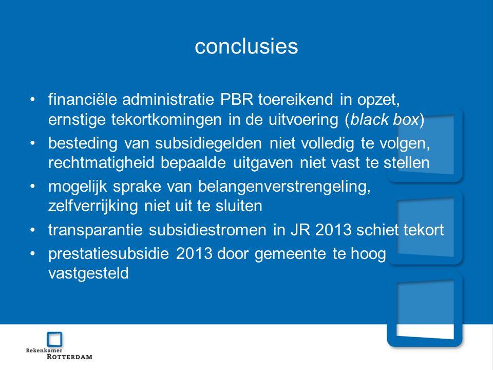 conclusies financiële administratie PBR toereikend in opzet, ernstige tekortkomingen in de uitvoering (black box) besteding van subsidiegelden niet vo