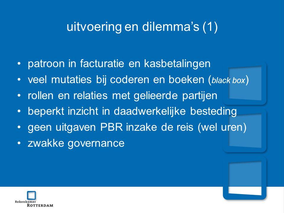 uitvoering en dilemma's (1) patroon in facturatie en kasbetalingen veel mutaties bij coderen en boeken ( black box ) rollen en relaties met gelieerde partijen beperkt inzicht in daadwerkelijke besteding geen uitgaven PBR inzake de reis (wel uren) zwakke governance