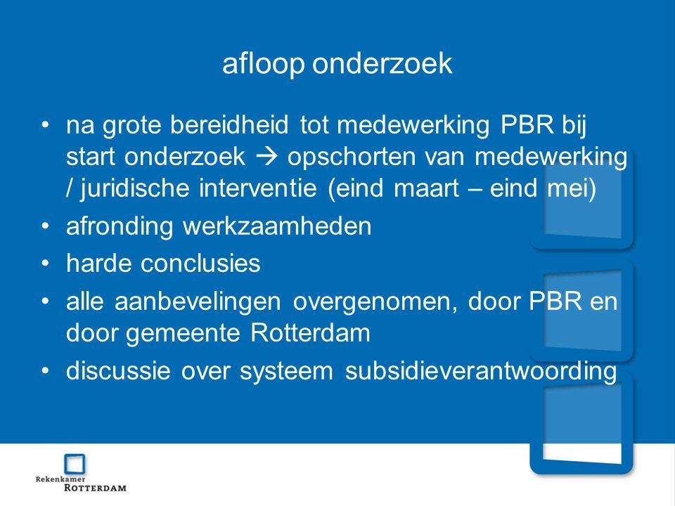 afloop onderzoek na grote bereidheid tot medewerking PBR bij start onderzoek  opschorten van medewerking / juridische interventie (eind maart – eind
