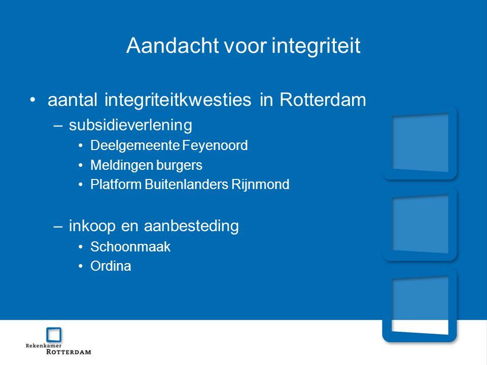 Aandacht voor integriteit aantal integriteitkwesties in Rotterdam –subsidieverlening Deelgemeente Feyenoord Meldingen burgers Platform Buitenlanders Rijnmond –inkoop en aanbesteding Schoonmaak Ordina