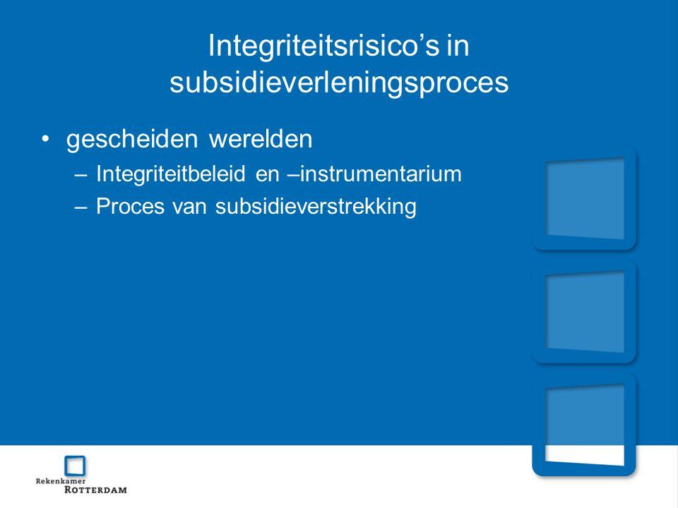 Integriteitsrisico's in subsidieverleningsproces gescheiden werelden –Integriteitbeleid en –instrumentarium –Proces van subsidieverstrekking