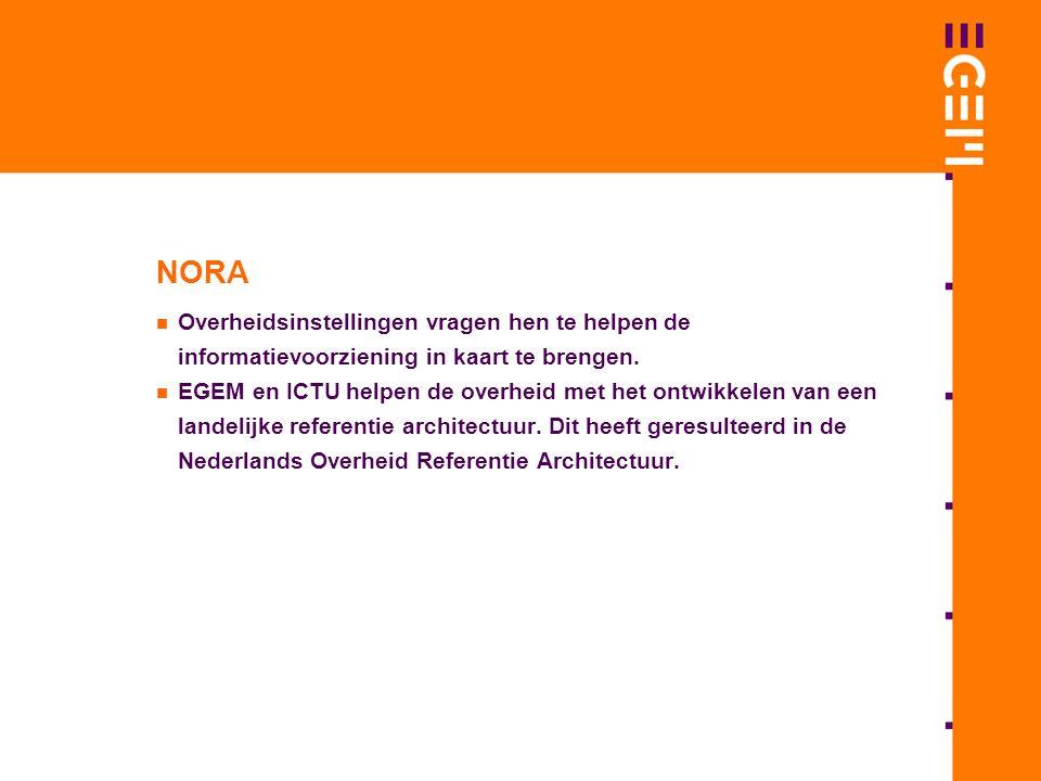 NORA Overheidsinstellingen vragen hen te helpen de informatievoorziening in kaart te brengen.