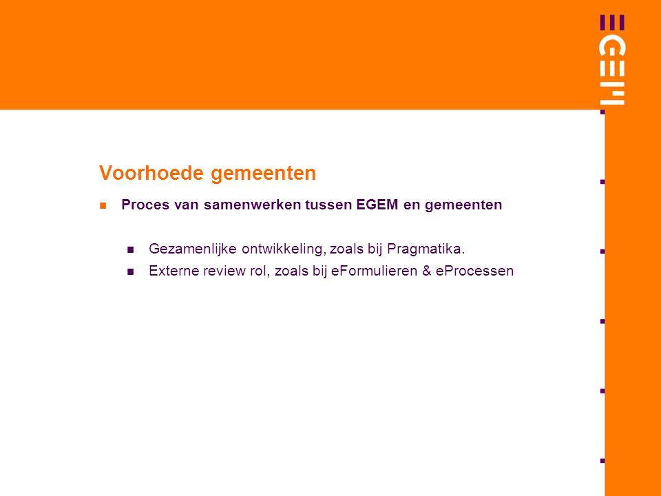 Voorhoede gemeenten Proces van samenwerken tussen EGEM en gemeenten Gezamenlijke ontwikkeling, zoals bij Pragmatika.