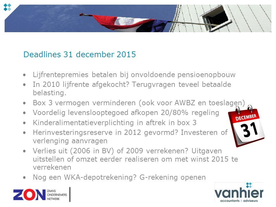 Deadlines 31 december 2015 Lijfrentepremies betalen bij onvoldoende pensioenopbouw In 2010 lijfrente afgekocht.