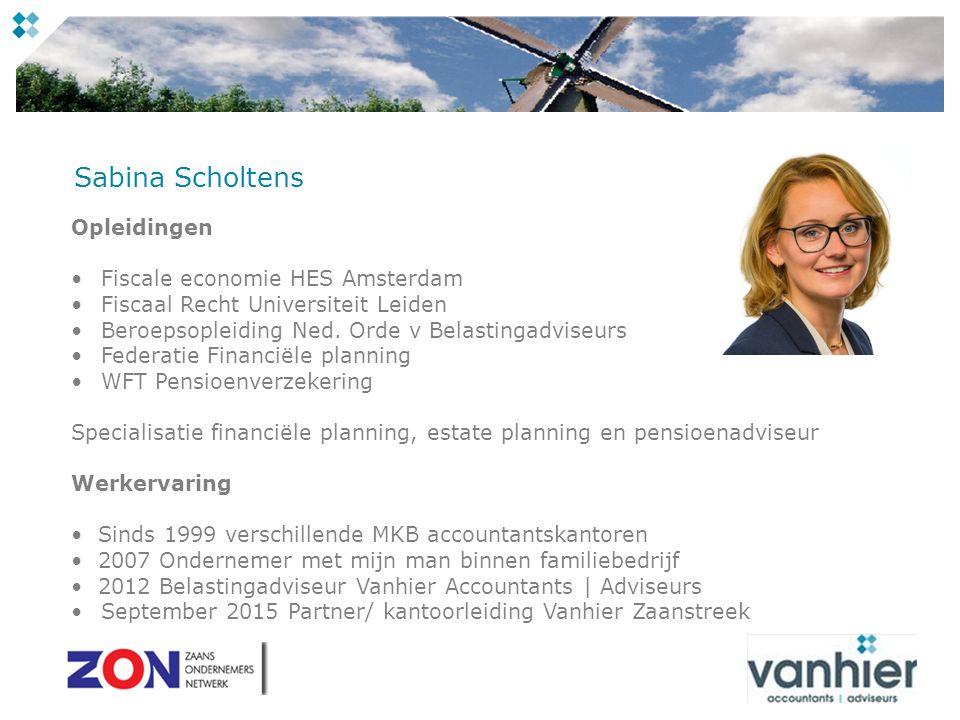 Sabina Scholtens Opleidingen Fiscale economie HES Amsterdam Fiscaal Recht Universiteit Leiden Beroepsopleiding Ned.