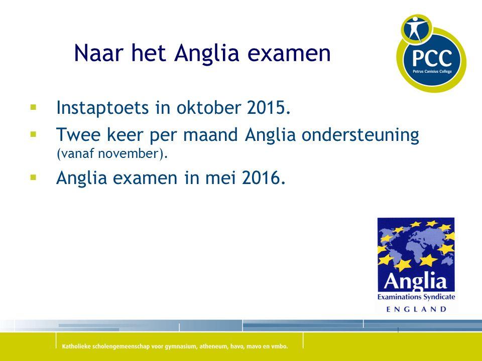 Naar het Anglia examen  Instaptoets in oktober 2015.