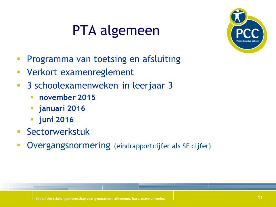 PTA algemeen  Programma van toetsing en afsluiting  Verkort examenreglement  3 schoolexamenweken in leerjaar 3  november 2015  januari 2016  juni 2016  Sectorwerkstuk  Overgangsnormering (eindrapportcijfer als SE cijfer) 11