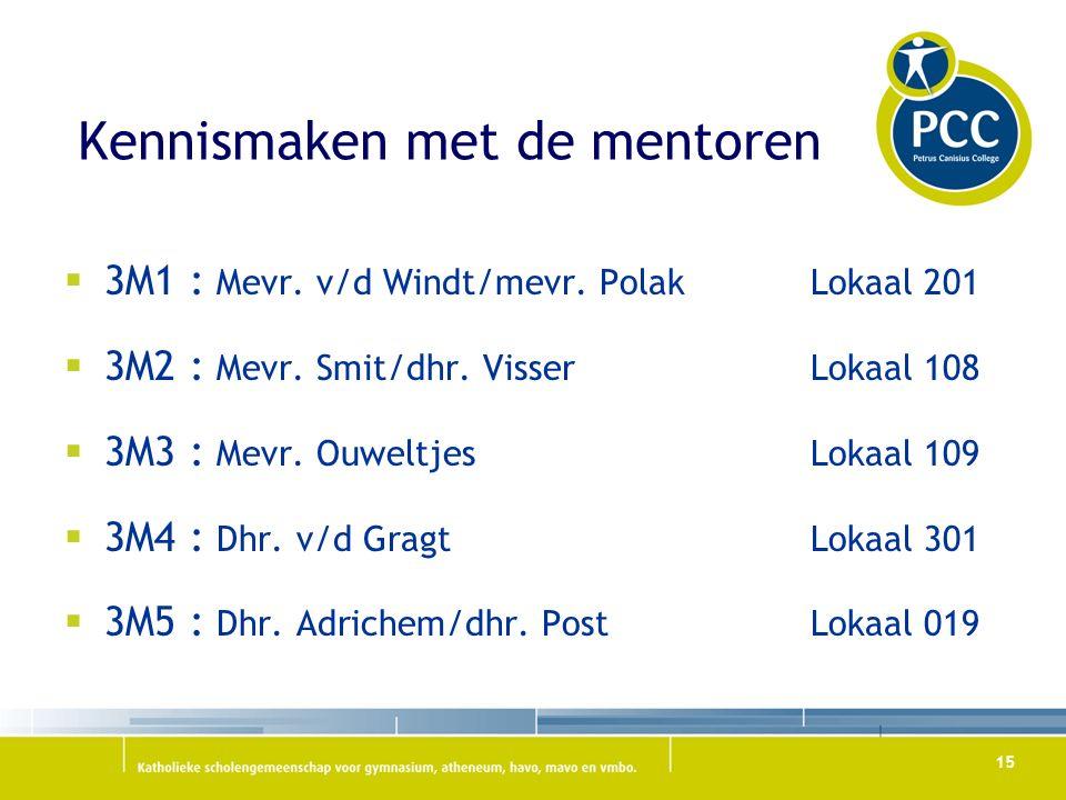 Kennismaken met de mentoren  3M1 : Mevr. v/d Windt/mevr.