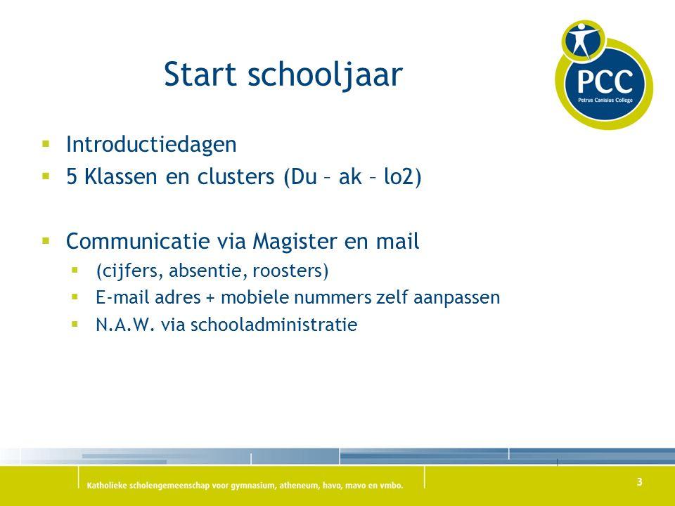 Start schooljaar  Introductiedagen  5 Klassen en clusters (Du – ak – lo2)  Communicatie via Magister en mail  (cijfers, absentie, roosters)  E-mail adres + mobiele nummers zelf aanpassen  N.A.W.