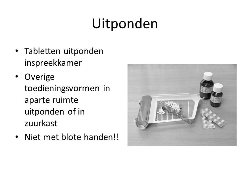 Uitponden Tabletten uitponden inspreekkamer Overige toedieningsvormen in aparte ruimte uitponden of in zuurkast Niet met blote handen!!