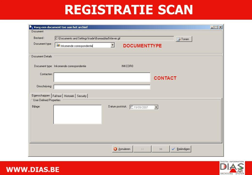 WWW.DIAS.BE DOCUMENTTYPE CONTACT REGISTRATIE SCAN