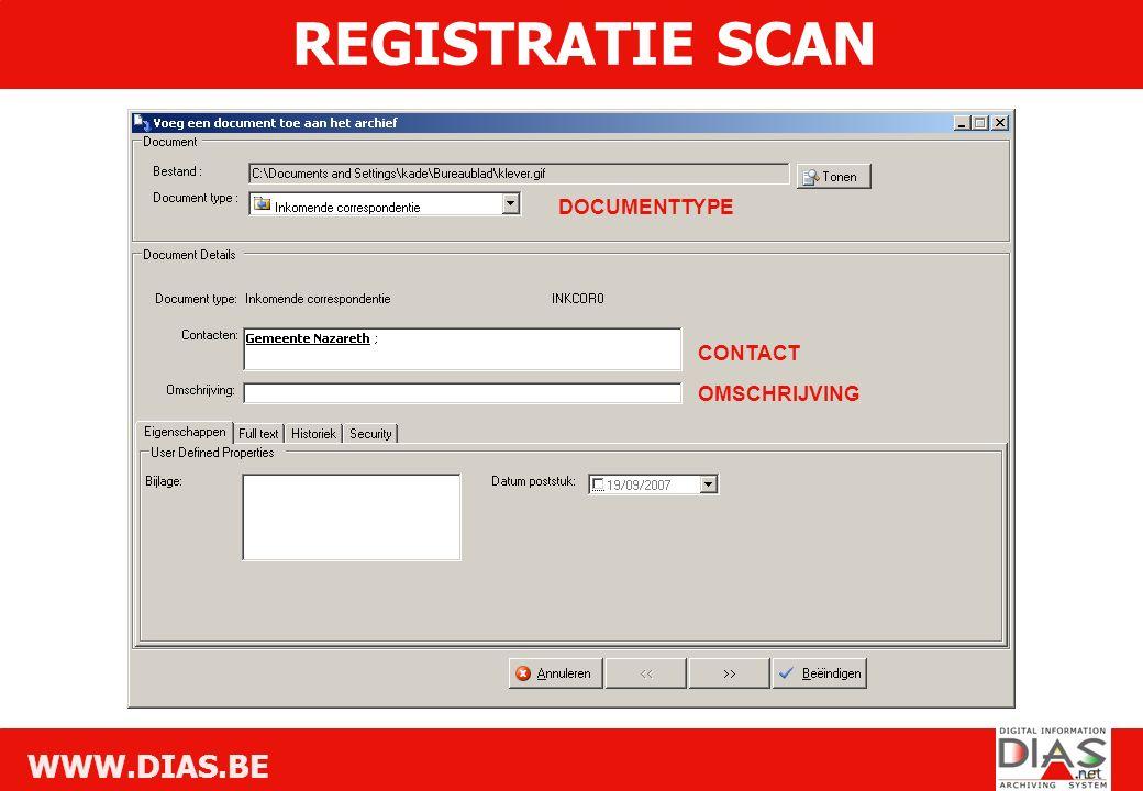WWW.DIAS.BE DOCUMENTTYPE CONTACT OMSCHRIJVING REGISTRATIE SCAN
