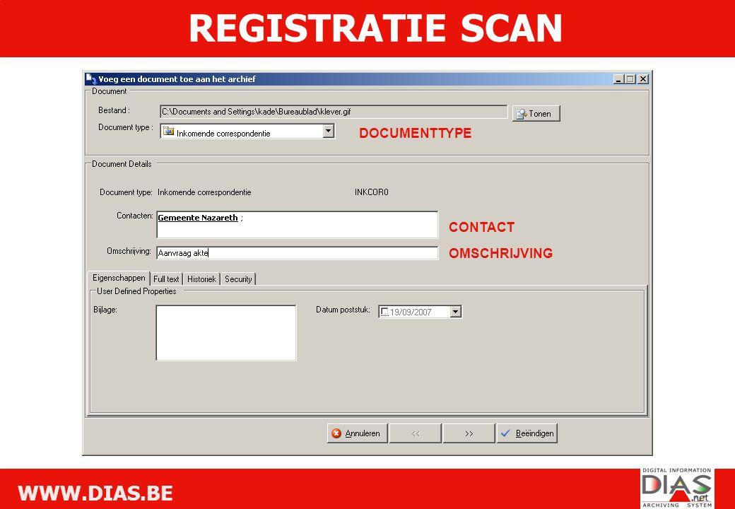 WWW.DIAS.BE OMSCHRIJVING CONTACT DOCUMENTTYPE REGISTRATIE SCAN