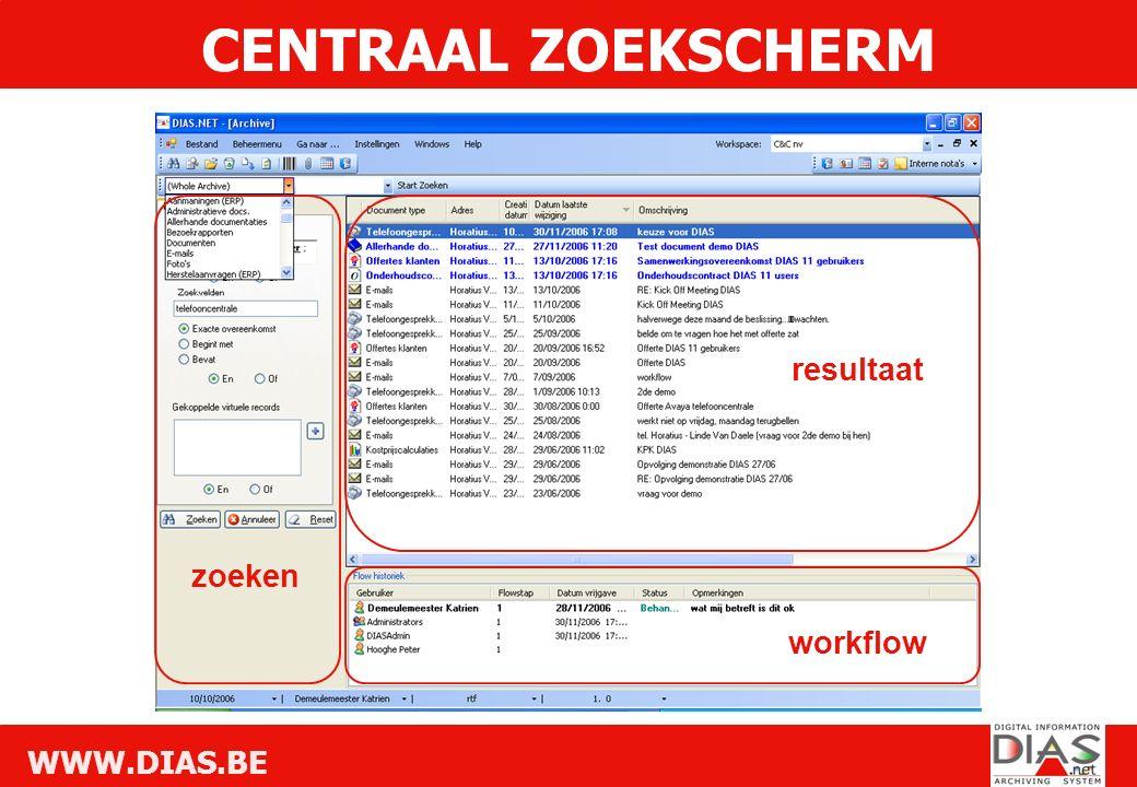 WWW.DIAS.BE CENTRAAL ZOEKSCHERM zoeken resultaat workflow