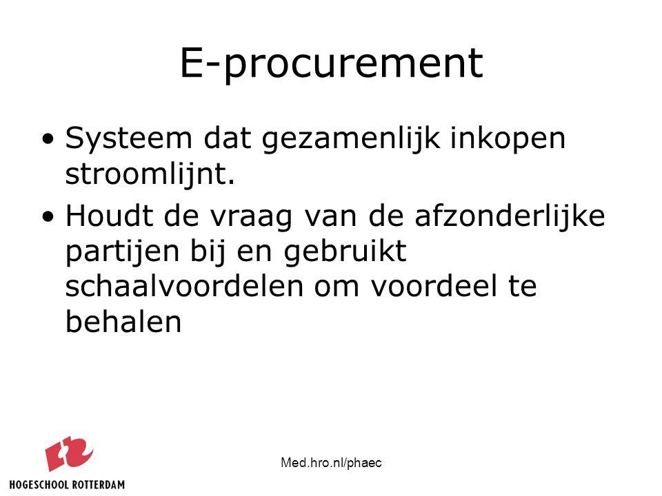 Med.hro.nl/phaec E-procurement Systeem dat gezamenlijk inkopen stroomlijnt. Houdt de vraag van de afzonderlijke partijen bij en gebruikt schaalvoordel