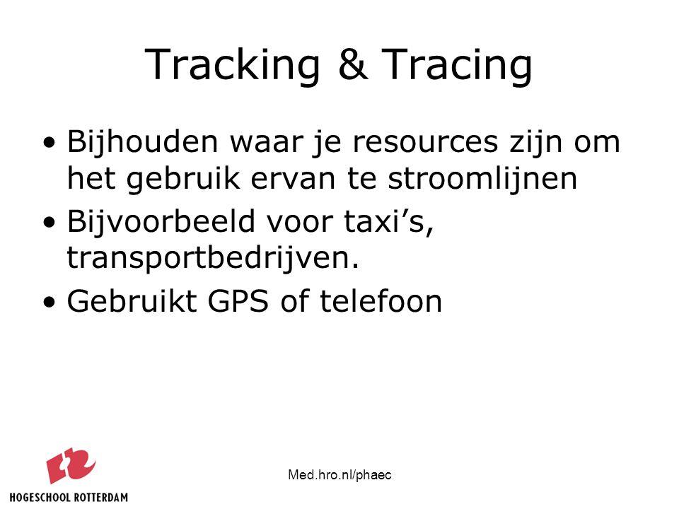 Med.hro.nl/phaec Tracking & Tracing Bijhouden waar je resources zijn om het gebruik ervan te stroomlijnen Bijvoorbeeld voor taxi's, transportbedrijven