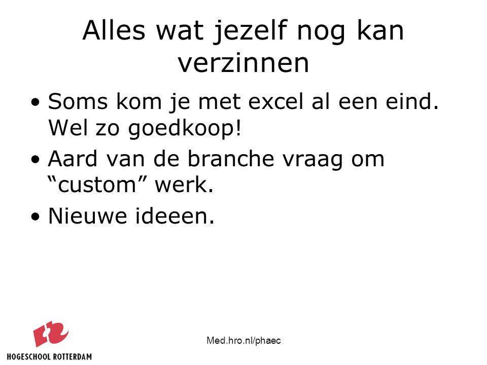 """Med.hro.nl/phaec Alles wat jezelf nog kan verzinnen Soms kom je met excel al een eind. Wel zo goedkoop! Aard van de branche vraag om """"custom"""" werk. Ni"""