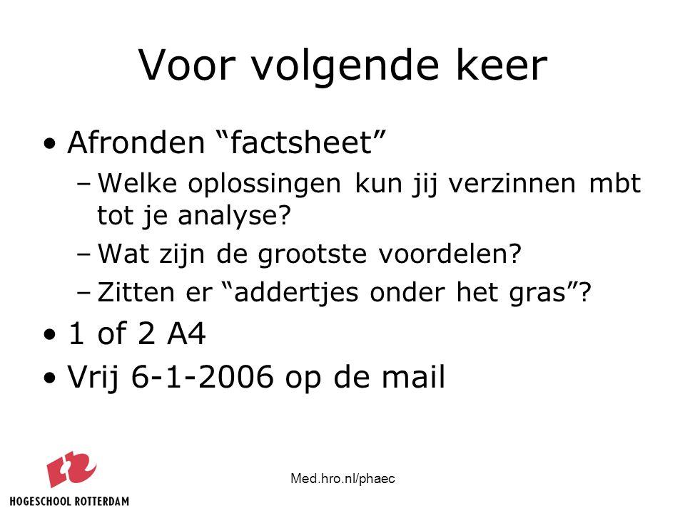 """Med.hro.nl/phaec Voor volgende keer Afronden """"factsheet"""" –Welke oplossingen kun jij verzinnen mbt tot je analyse? –Wat zijn de grootste voordelen? –Zi"""