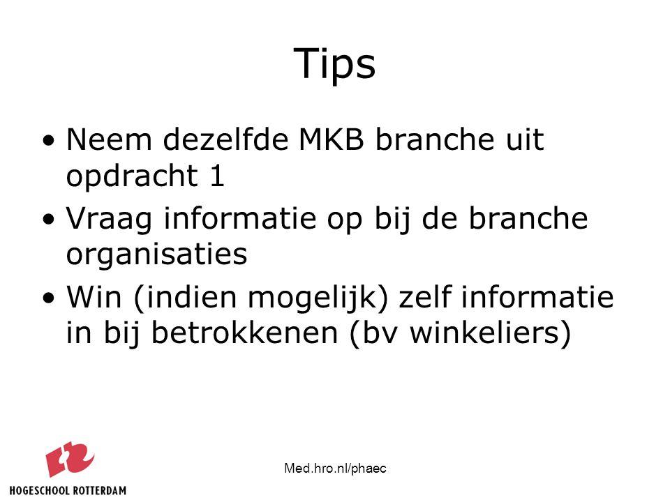 Med.hro.nl/phaec Tips Neem dezelfde MKB branche uit opdracht 1 Vraag informatie op bij de branche organisaties Win (indien mogelijk) zelf informatie i