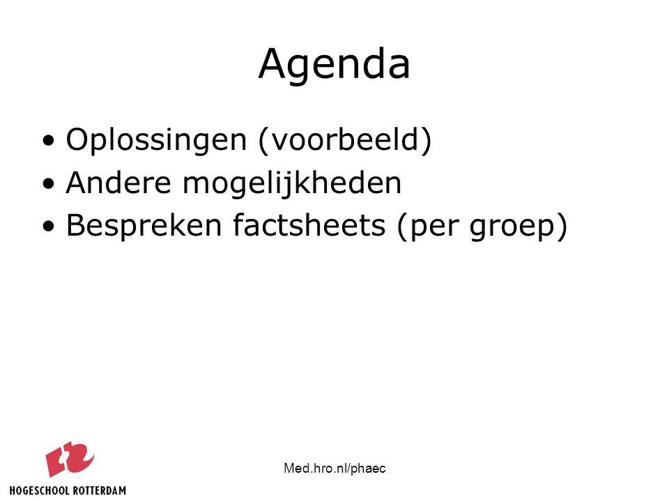 Med.hro.nl/phaec Agenda Oplossingen (voorbeeld) Andere mogelijkheden Bespreken factsheets (per groep)