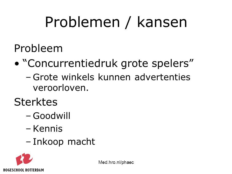 "Med.hro.nl/phaec Problemen / kansen Probleem ""Concurrentiedruk grote spelers"" –Grote winkels kunnen advertenties veroorloven. Sterktes –Goodwill –Kenn"