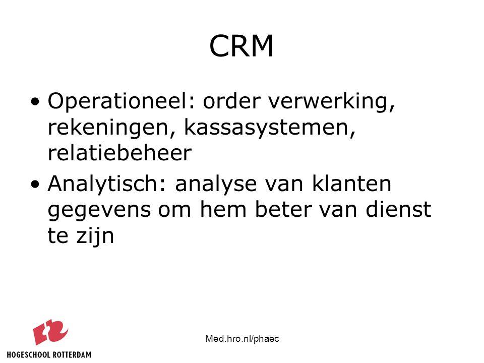 Med.hro.nl/phaec CRM Operationeel: order verwerking, rekeningen, kassasystemen, relatiebeheer Analytisch: analyse van klanten gegevens om hem beter va